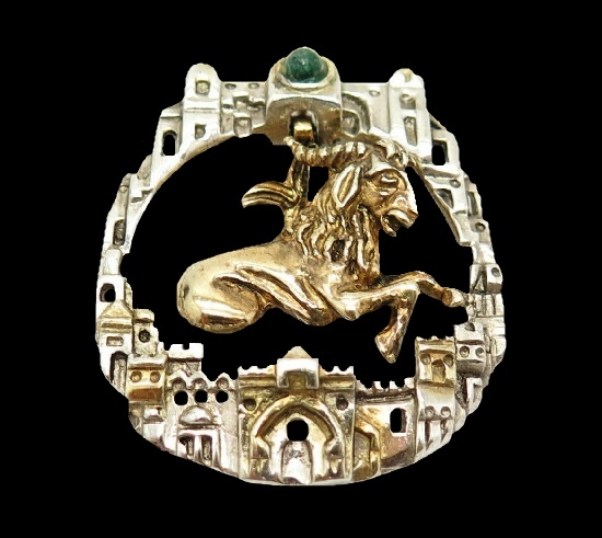 Ram zodiac sign architectural design brooch. Gold and sterling silver, turquoise stone