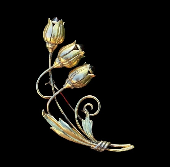 Red Cabochons 12 K gold filled bell flower brooch. 1930s