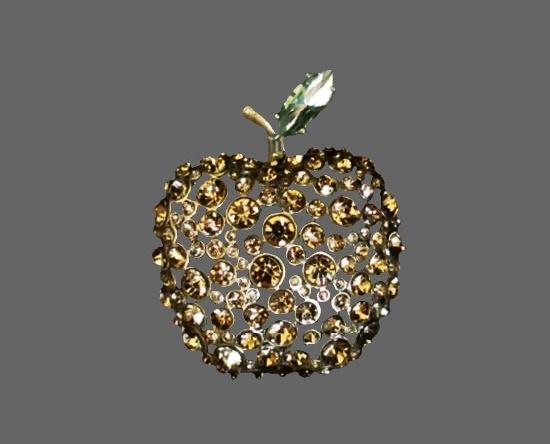 Rhinestone apple vintage brooch
