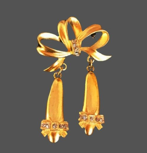 Ribbon bow and slippers charms gold tone rhinestones pin