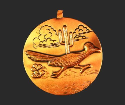 Road Runner copper pendant