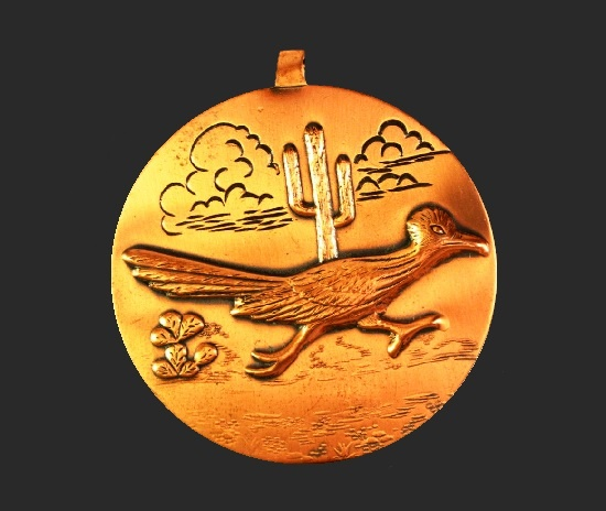 Road Runner copper pendant