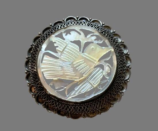 Round shaped filigree blackened sterling silver bird brooch pendant