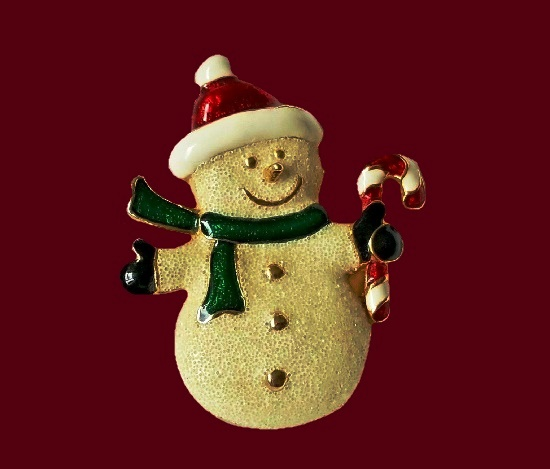 SFJ signed snowman with candy cane enameled brooch