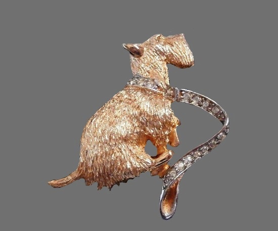 Scottish terrier with leash gold and silver plated rhinestones brooch