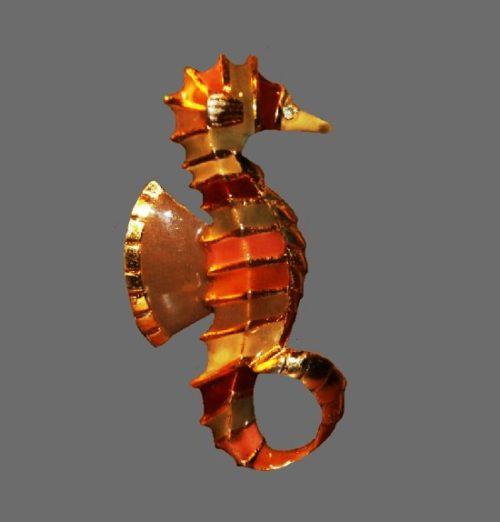 Seahorse pendant. Gold tone metal, enamel