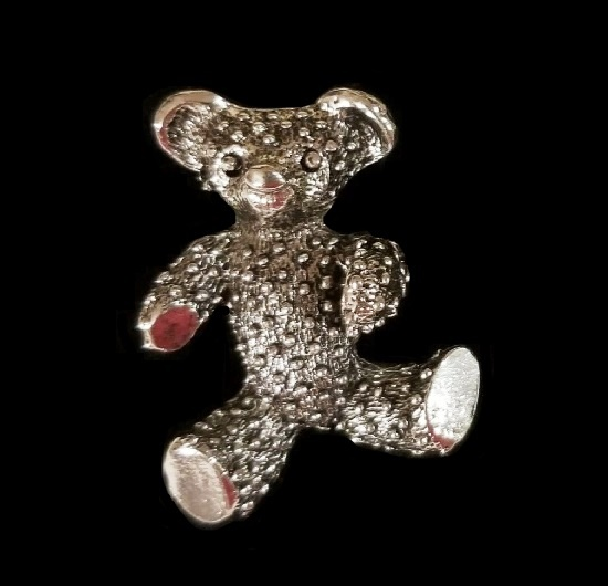 Silver tone teddy bear lapel pin