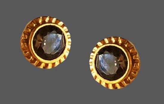 Smoky quartz gold tone stud earrings
