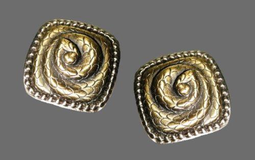 Snake design square shaped clip on earrings