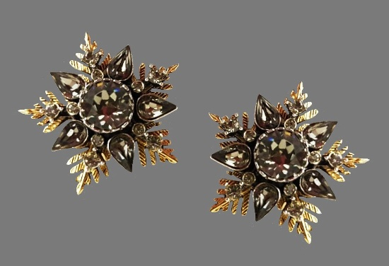 Snowflake star clip on earrings. Gold tone metal, crystals. 1960s