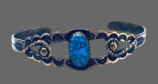 Solid copper turquoise cuff bracelet