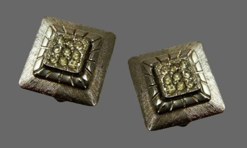 Square shaped silver tone pave rhinestones clip on earrings