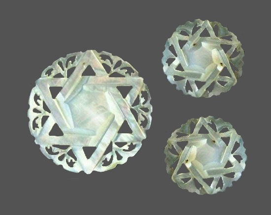 Star of Bethlehem brooch and clip on earrings, carved mother of pearl