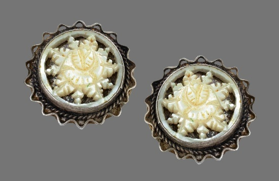 Sterling silver carved mother of pearl floral design earrings