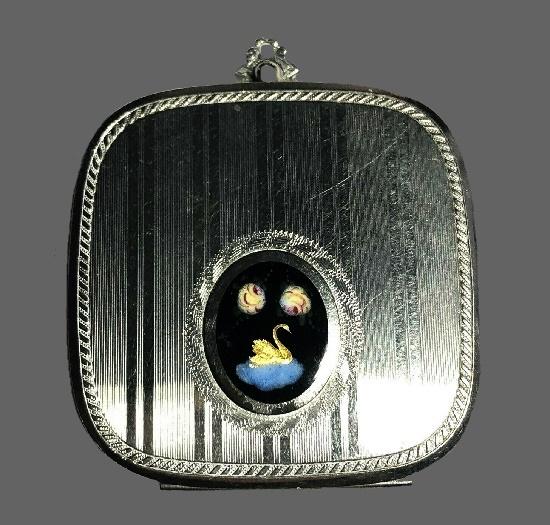 Swan pendant. Striped silver tone medallion compact powder lipstick holder