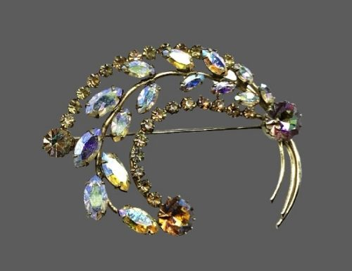 Swarovski marquise rhinestones gold plated brooch
