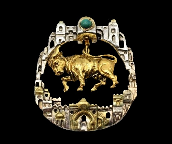 Taurus Zodiac Sign Pendant architectural design walls of Jerusalem brooch. Gold and sterling silver, natural stone