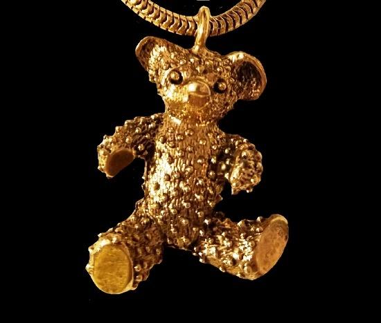 Teddy Bear pendant. Gold tone textured metal alloy. 1980s