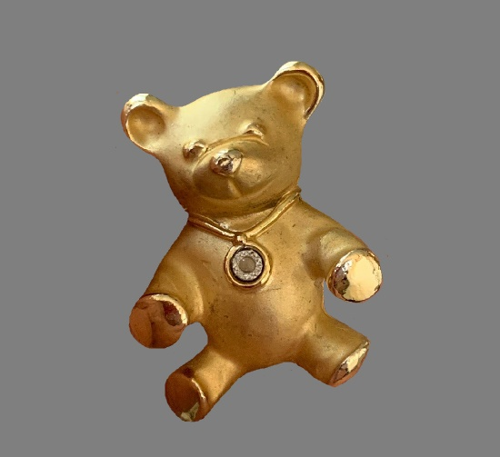 Teddy bear goold tone crystal brooch. 3 cm. 1995