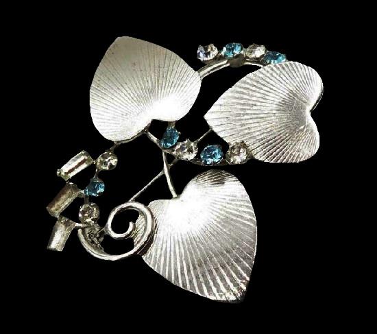 Three hearts brooch pin. 925 sterling silver, cubic zirconia