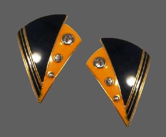 Triangular shaped black and yellow enamel gold tone rhinestones earrings