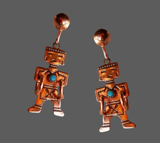 Tribal design copper dangle screw back earrings