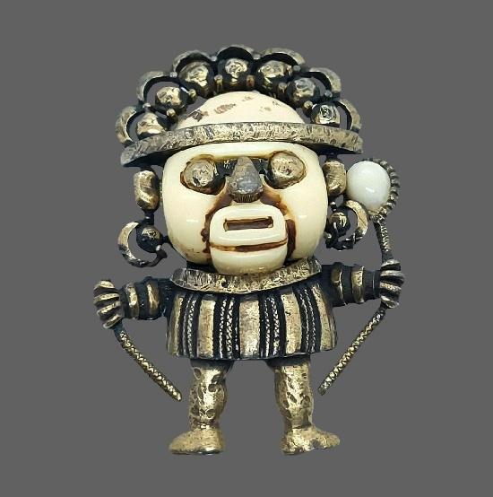 Tribal man pendant. Metal alloy, lucite
