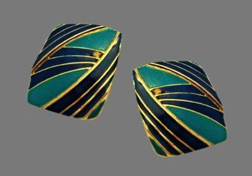 Turquoise and blue enamel gold tone pierced earrings