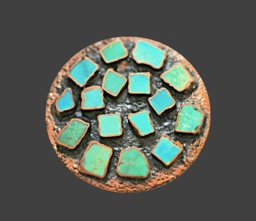 Turquoise stones cuff bracelet and pendant
