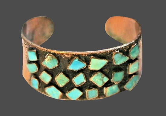 Multicolor stones solid copper cuff bracelet