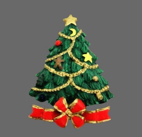 Vintage Christmas tree plastic pin. 1990s