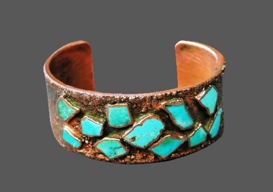 Vintage Solid Copper Turquoise Cuff Bracelet