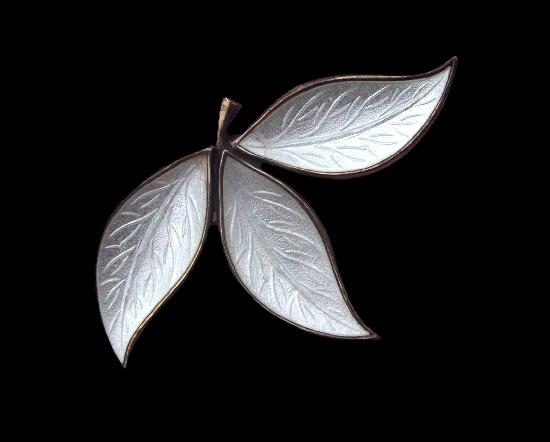 White guilloche enamel sterling silver leaf design brooch