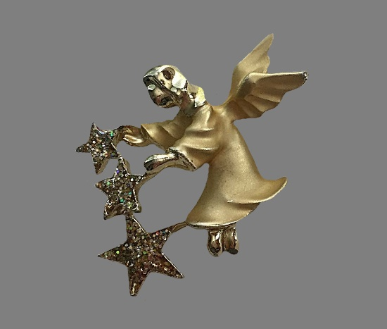 Winged angel with stars lapel pin. Matte gold tone alloy, glitter enamel
