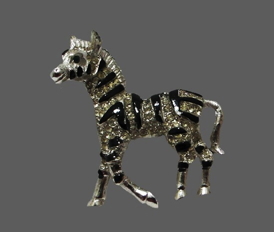 Zebra silver tone black enamel rhinestones brooch pin