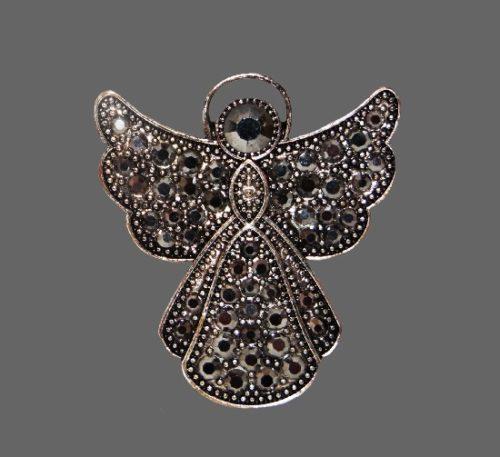 Angel brooch pendant. Silver tone, black rhinestones. USA
