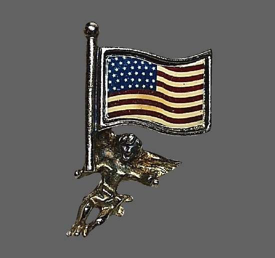 Angel with US flag 4th July patriotic lapel pin