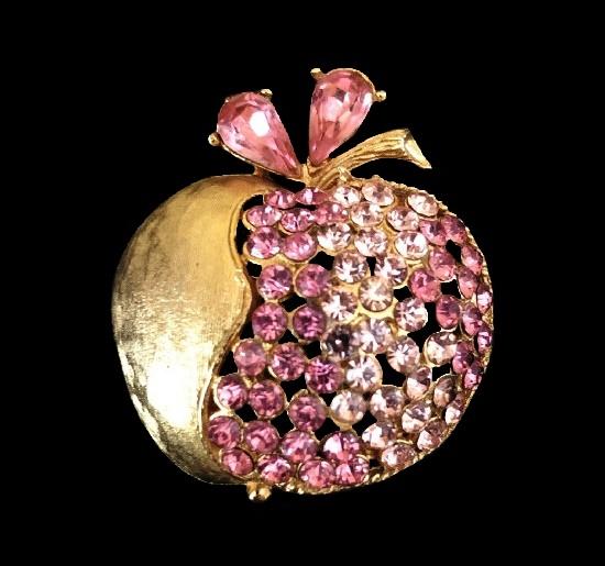 Apple half peeled brooch. Gold tone, rhinestones