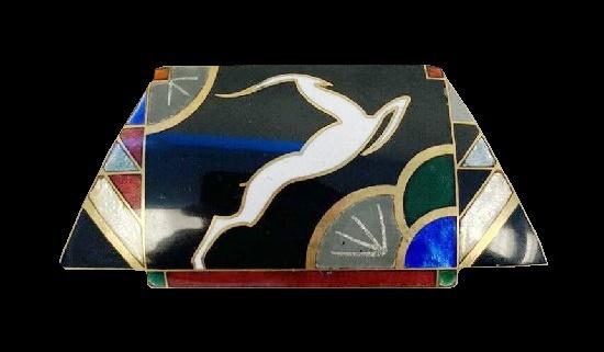 Art Deco Gazelle brooch. Metal alloy, enamel. 1980s