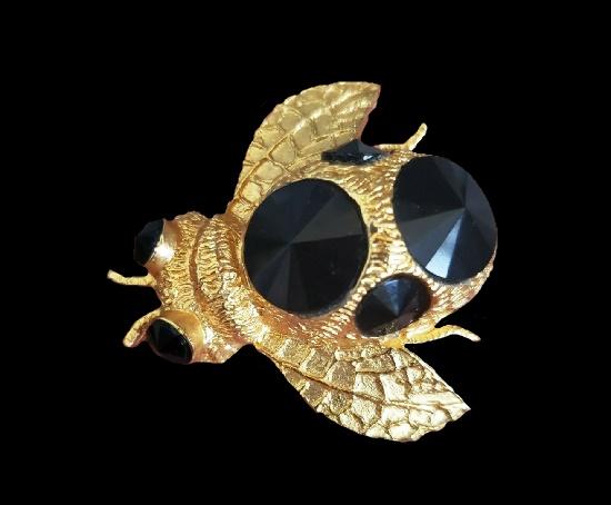 Bee vintage brooch pin. Gold tone, black rivoli crystals