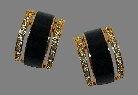 Black and gold hoop clip on earrings. Gold tone ally, leather, rhinestones