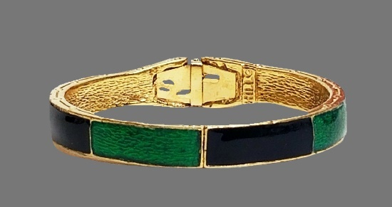 Blue and green enamel gold tone clamper bracelet