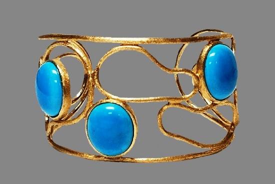 Blue art glass gold tone cuff bracelet