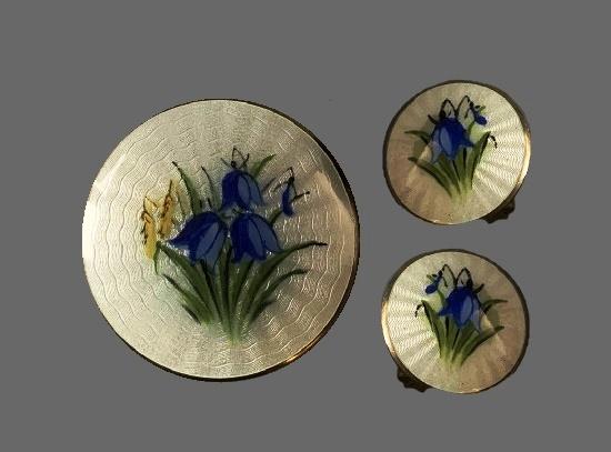 Bluebell flowers brooch and earrings. Sterling silver, enamel
