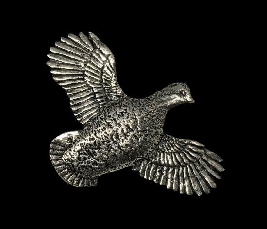 Bobwhite quail bird pewter lapel pin. 1991