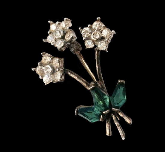 Bouquet of flowers brooch. Sterling silver, rhinestones. 1950s