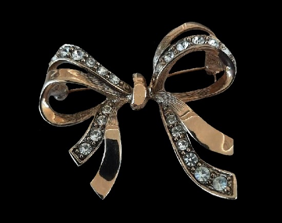 Bow brooch. Sterling silver, rhinestones. 1982