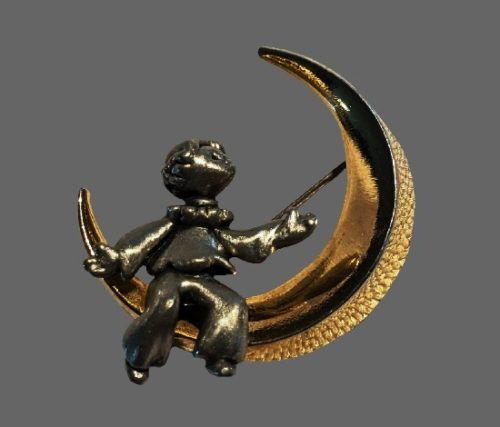 Boy in a crescent vintage brooch. Pewter, gold tone