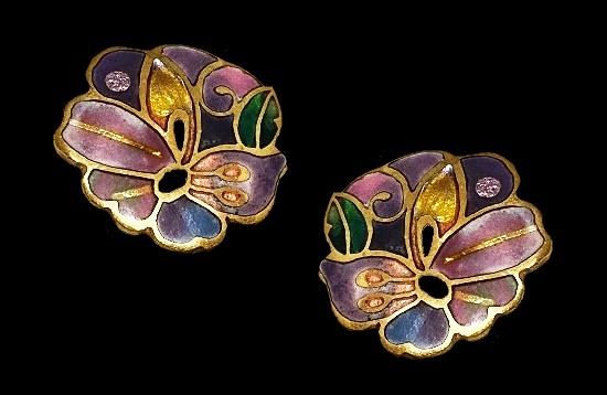 Butterfly floral design clip on earrings. Copper, enamel. 1980s