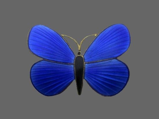 Butterfly vintage brooch. 925 sterling silver, blue enamel